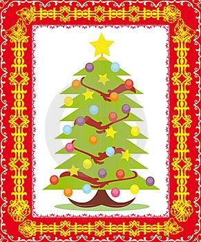 Postcard With Christmas Tree Stock Image - Image: 16815841