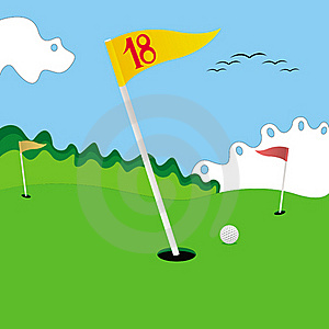 Golf Field With Funny Backgroung Royalty Free Stock Photography - Image: 16817737