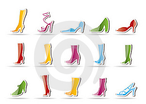 Shoe And Boot Icons Royalty Free Stock Photos - Image: 16818088