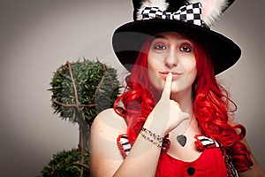 Attractive Red Haired Woman Wearing Bunny Ear Hat Royalty Free Stock Images - Image: 16818669