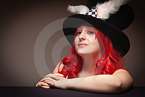 Attractive Red Haired Woman Wearing Bunny Ear Hat Stock Photos - Image: 16818673