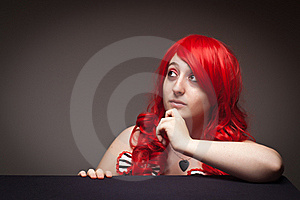 Attractive Red Haired Woman Wearing Bunny Ear Hat Royalty Free Stock Image - Image: 16818676