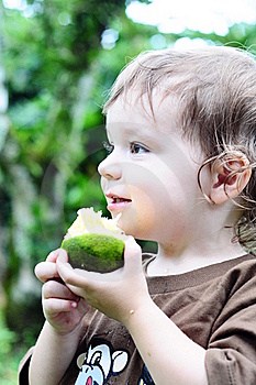 Little Girl Eating An Orange Stock Image - Image: 16820571