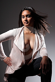 Sexy Fashion Model Posing With Sultry Attitude Stock Photos - Image: 16822763