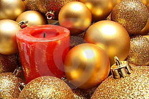 Christmas Balls And A Red Candle Stock Photos - Image: 16824973