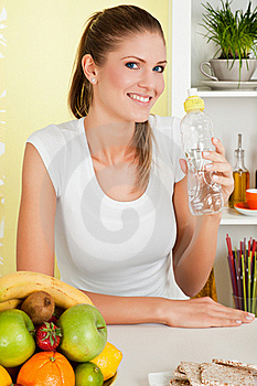Beauty, Young Girl Holding A Bottle Of Water Stock Photography - Image: 16829162