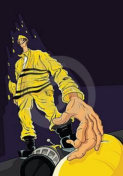 Fireman Reaching For Hose Stock Image - Image: 16832871