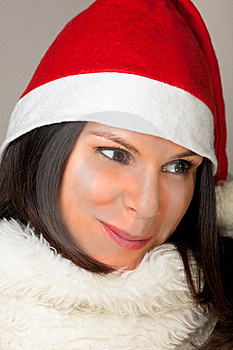 Woman With Santa Hat Stock Image - Image: 16833891