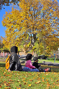 Family Picnicking While Watching Autumn Foliage Royalty Free Stock Images - Image: 16838329