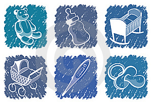 Blue Children's Icons Royalty Free Stock Images - Image: 16843909