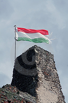 Hungarian Flag On The Ruin Of A Castle Stock Image - Image: 16845361
