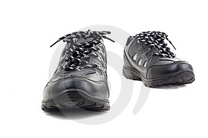 Black Leather Shoes On A White Background Royalty Free Stock Photography - Image: 16847917