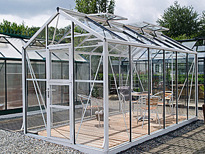 Formal Garden Glass Pavilion With Furniture Stock Image - Image: 16850161