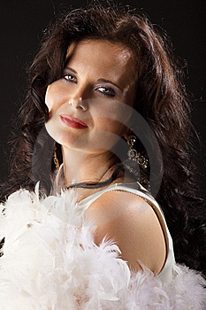 Glamour Young Woman In Boa Royalty Free Stock Photos - Image: 16850478