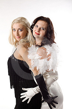 Two Young Woman In White And Black Feather Boa Royalty Free Stock Photography - Image: 16850537