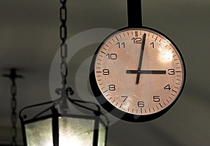Bergamo Old Town Rail Station Clock Royalty Free Stock Images - Image: 16850939
