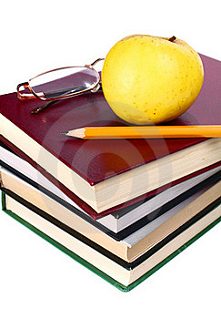 Books Apple Glasses And Pencil Stock Image - Image: 16851431