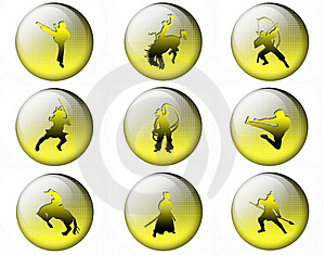 Bright Buttons With Silhouettes Of Soldiers Stock Photos - Image: 16852563