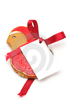 Christmas Bird With A Label Royalty Free Stock Photography - Image: 16857707