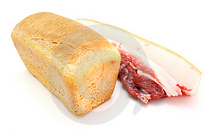Roll Of Fresh Bread And The Big Piece Stock Photos - Image: 16861423