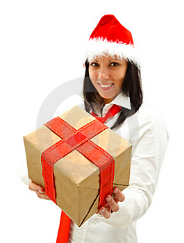 Christmas Woman With Gift Stock Image - Image: 16863681
