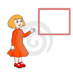 Little Girl Show A Board Royalty Free Stock Photography - Image: 16864807