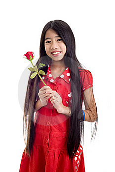 Asian Teenager Holding A Rose Stock Images - Image: 16865094