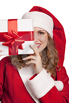 Smiling Santa Emerge From Behind A Gift Box Royalty Free Stock Images - Image: 16869829