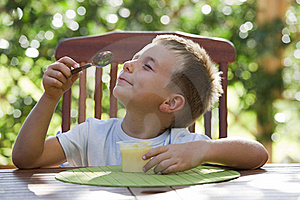 Little Boy Eating Pudding Royalty Free Stock Photo - Image: 16870995