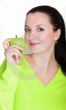 Beautiful Young Woman With A Green Apple Stock Photography - Image: 16872152