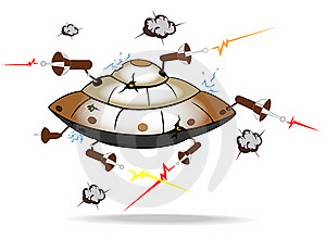 Alien Spaceship Under Attack Royalty Free Stock Image - Image: 16877726