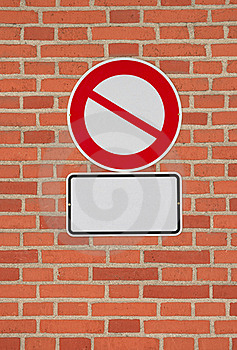 Prohibition Sign With Blank Letter Plate Royalty Free Stock Photography - Image: 16877957