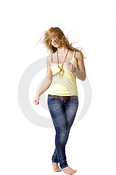 Joyful Girl Walking Royalty Free Stock Photography - Image: 16878387