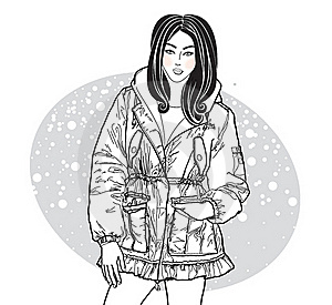 Vector Image Of Girl In Winter Jacket Stock Photos - Image: 16878733
