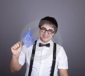 Funny Men Keeping European Union Flag. Stock Photos - Image: 16883093