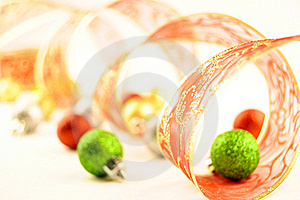 Holiday Ribbon Christmas Balls Stock Photos - Image: 16883123