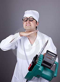 Crazy Doctor With Portable Saw. Royalty Free Stock Photography - Image: 16883567