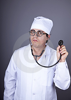 Crazy Doctor With A Stethoscope. Royalty Free Stock Images - Image: 16883589