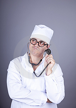 Crazy Doctor With A Stethoscope. Royalty Free Stock Photo - Image: 16883625