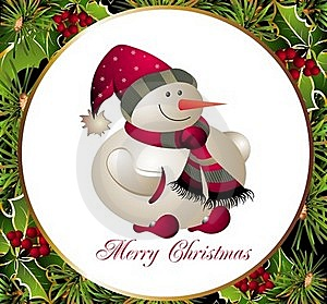 Christmas And New Year Card With Snowman Stock Photography - Image: 16884802