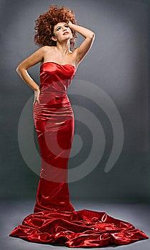 Beauty Redheaded Girl In Fashion Dress Stock Photos - Image: 16885743