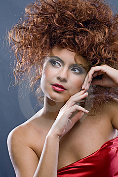 Beauty Redheaded Girl In Fashion Dress Royalty Free Stock Images - Image: 16885749