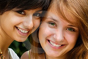 Young girls making a toothy smile Stock Photography
