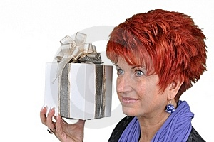 Woman With Gift Box Royalty Free Stock Image - Image: 16891416
