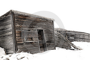 Abandoned Wood Farm Building In Winter Royalty Free Stock Photography - Image: 16894487
