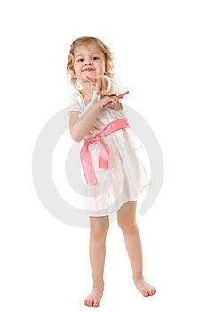Amazed Little Girl Wearing A White Dress Stock Image - Image: 16907061