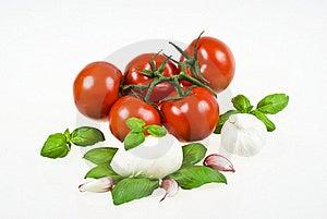 Tomatoes, Mozzarella, Basil And Garlic Stock Photo - Image: 16907200
