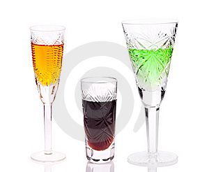 Three Glasses With Different Drinks Stock Image - Image: 16907801