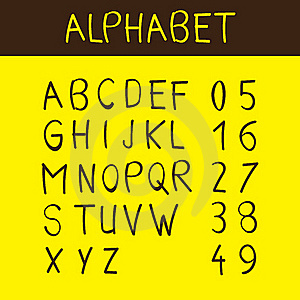 Alphabet And Numbers Font Royalty Free Stock Photos - Image: 16909948