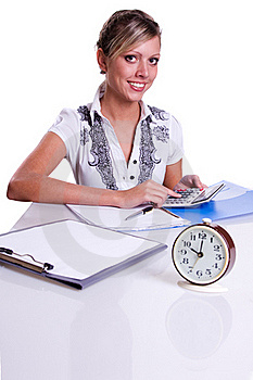 Businesswoman Sitting With Calculator Royalty Free Stock Photography - Image: 16912847
